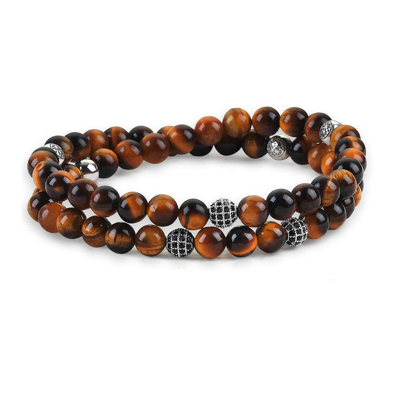 Mens Double Beaded Bracelets - Tiger Eye