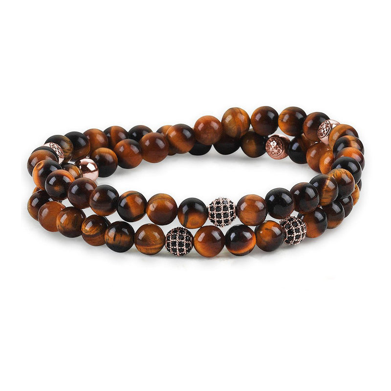 Mens Wrap Beaded Bracelets - Tiger Eye