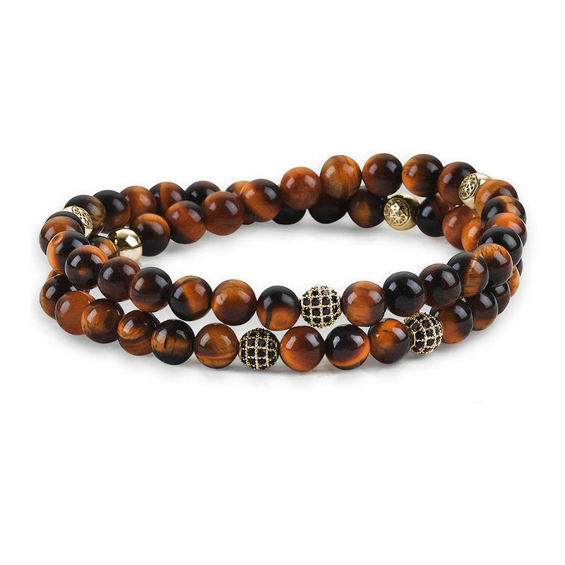 Mens Wrap Beaded Bracelets - Tiger Eye - Yellow Gold