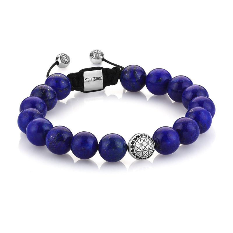 Exlusive Atolyestone Beaded Bracelet With Solid Gold - Lapis Lazuli - White Gold
