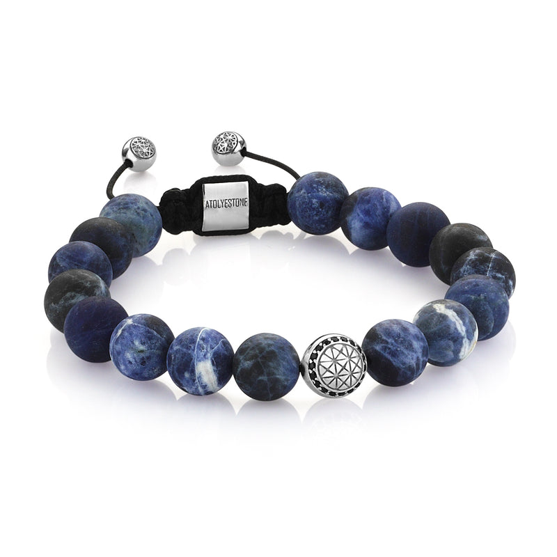 Exlusive Atolyestone Beaded Bracelet With Solid Gold - Sodalite - White Gold