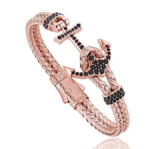 Anchor Leather Bracelet -Silver