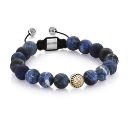 Exlusive Atolyestone Beaded Bracelet With Solid Gold - Sodalite - Yellow Gold