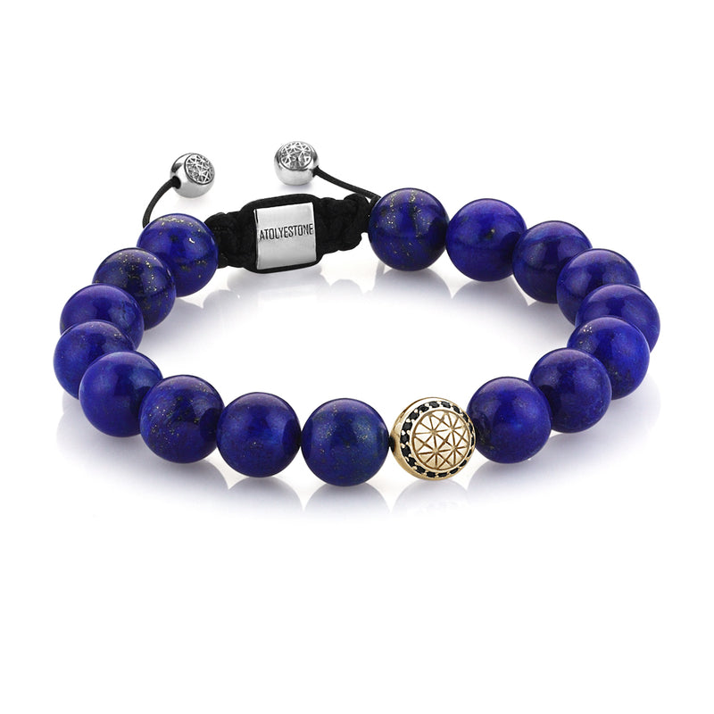 Exlusive Atolyestone Beaded Bracelet With Solid Gold - Lapis Lazuli - Yellow Gold