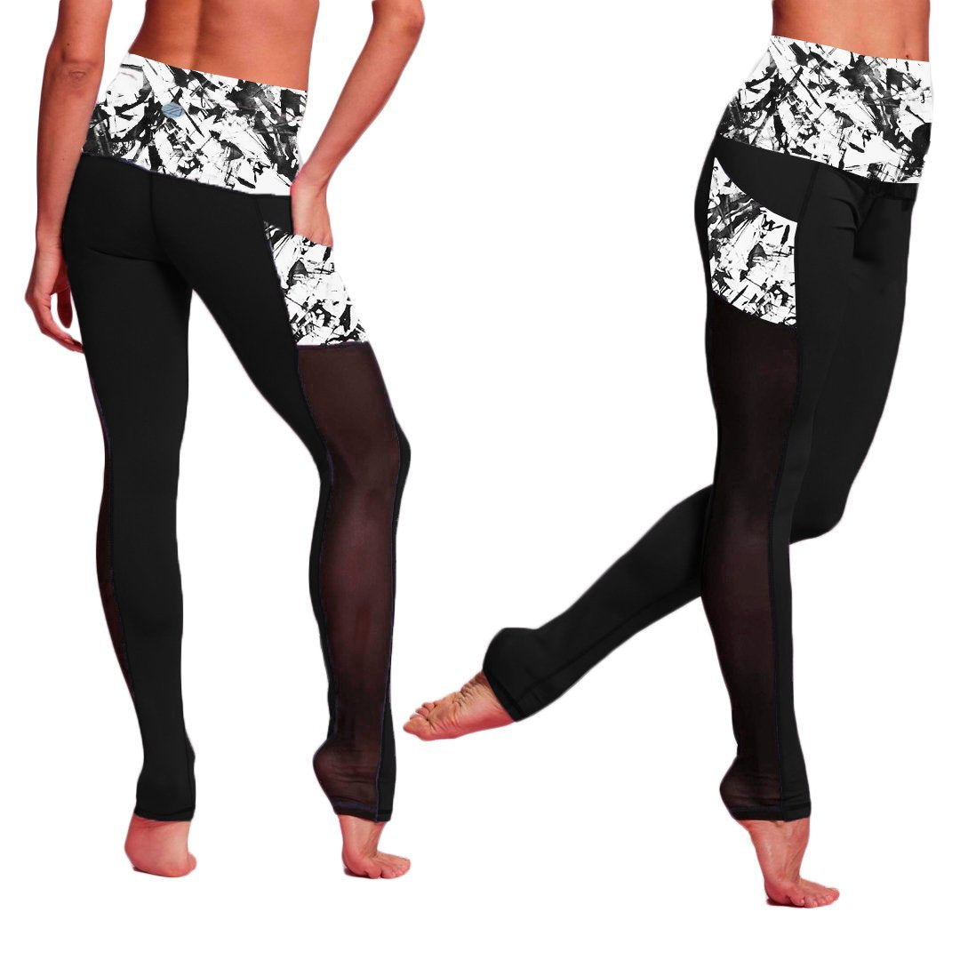 Zions Den Apparel Black + White Abstract Strokes Active Leggings