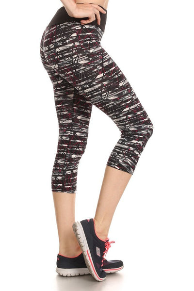 Abstract Geo Print ShoSport Activewear Capris-A mom's Attic