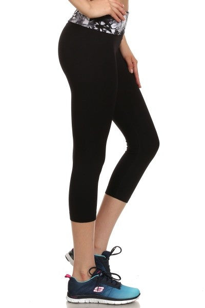 Activewear Capris - ShoActive Activewear Black Capris W/Tie Dye Fold Over Waistband