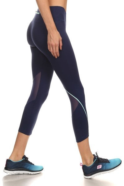 Activewear Capris Navy W/Mint Detail Capris leggings-A Mom's Attic