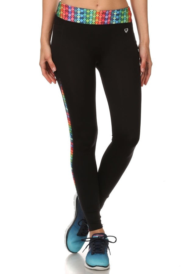 Assorted Color Abstract Waist Leggings with Pocket-A mom's Attic