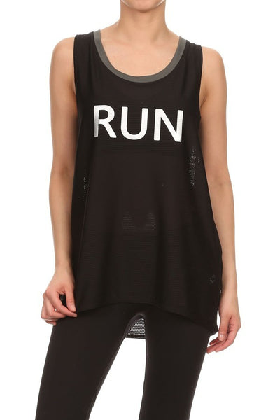 'Run'printed Boyfriend Mesh Tank -A mom's Attic