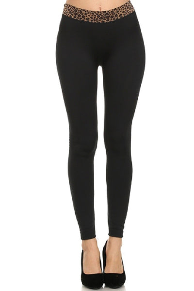Animal Printed Waistband Black Fleece Lined Legging-A mom's Attic