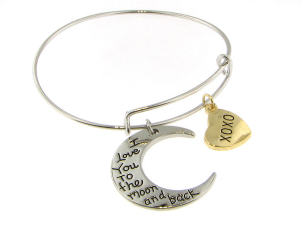 Bracelet - I Love You To The Moon And Back Oval Bangle Bracelet With Mom Or XOXO Dangles-A Mom' Attic