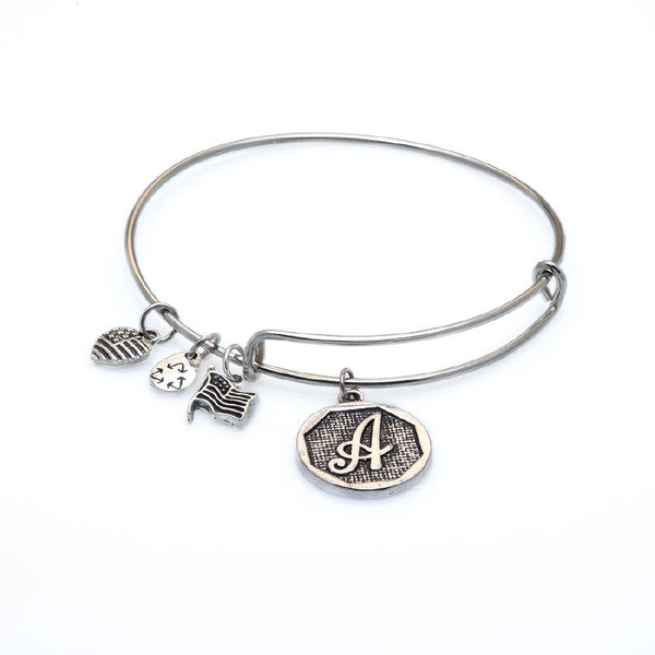 Bracelet - Initial Oval Bangle Bracelet With Dangles - A-Z Available-A Mom's Attic