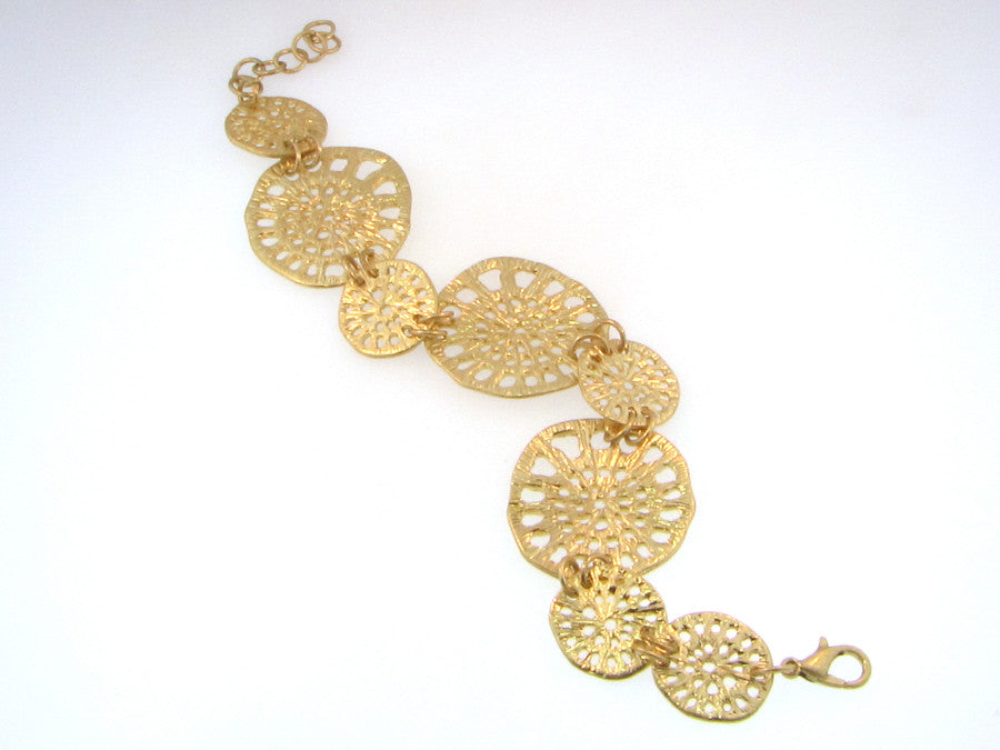 Bracelet - Matte Gold Multi Filigree Disc Bracelet-A Mom's Attic