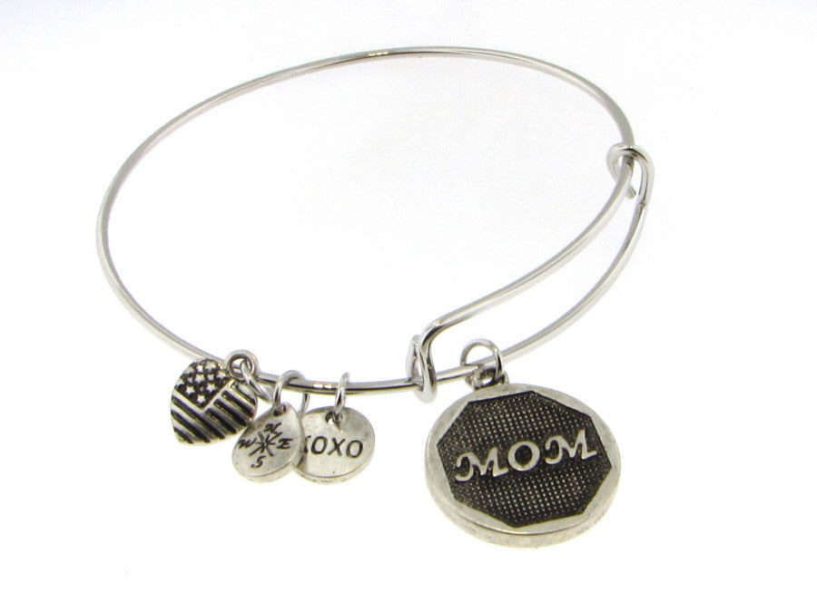 Bracelet - Mom Oval Bangle Bracelet With Dangles-A Mom's Attic
