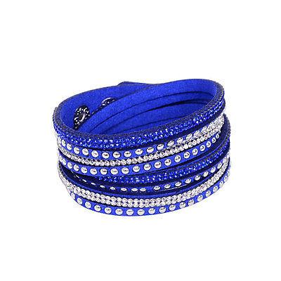 Bracelet - Rhinestone And Stud Wrap Bracelet Multilayer Look 9 Assorted Colors