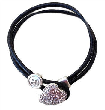 Bracelet - Sweet Lola Crystal Heart Black Leather Bracelet-A Mom's Attic