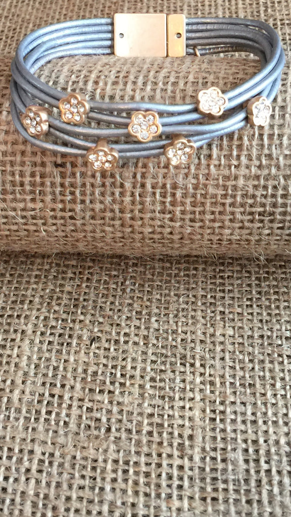 Bracelet - Sweet Lola Gold Matte Flowers W/ Crystals Leather Bracelet-A Mom's Attic