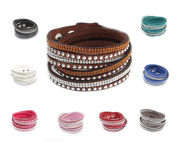 Bracelets - Rhinestone Wrap Bracelet Mutlilayered Look- 11 Colors Available
