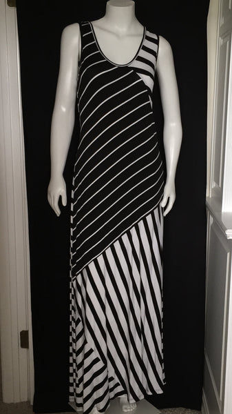 Black and White Striped Maxi -A mom's Attic