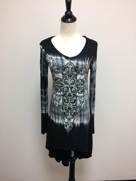 Dresses - Vocal Black And White Tie Dye Long Sleeve Dress