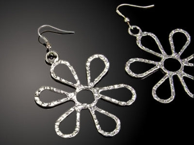 Earrings - Flower Silver Plated Earrings-A Mom's Attic