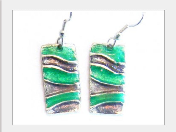 Earrings - Green And Pewter Colored Earrings-A Mom's Attic