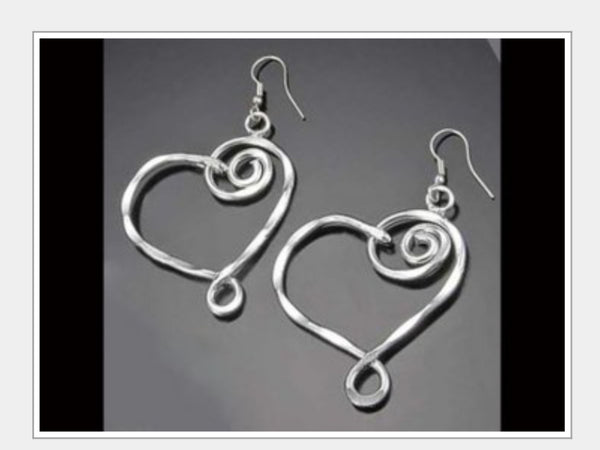 Earrings - Heart Earrings Silver Plated