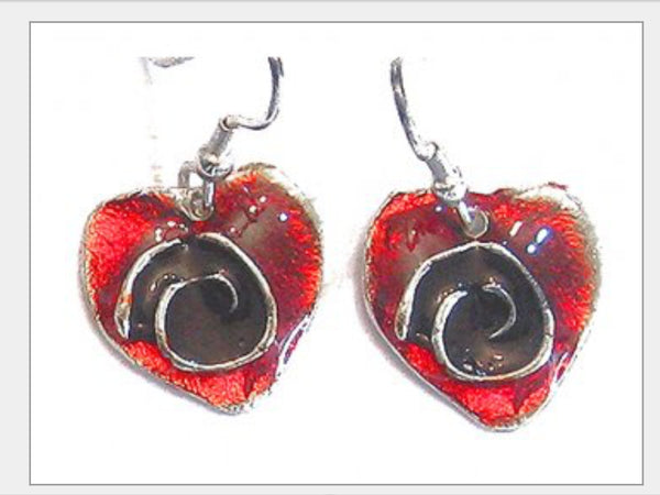 Earrings - Heart Handcrafted Pewter Earrings With Color Enamel-A Mom's Attic