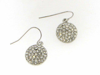 Earrings - Pave' Crystal Circle Pendant Earrings In Silver Tone Or Gold Tone
