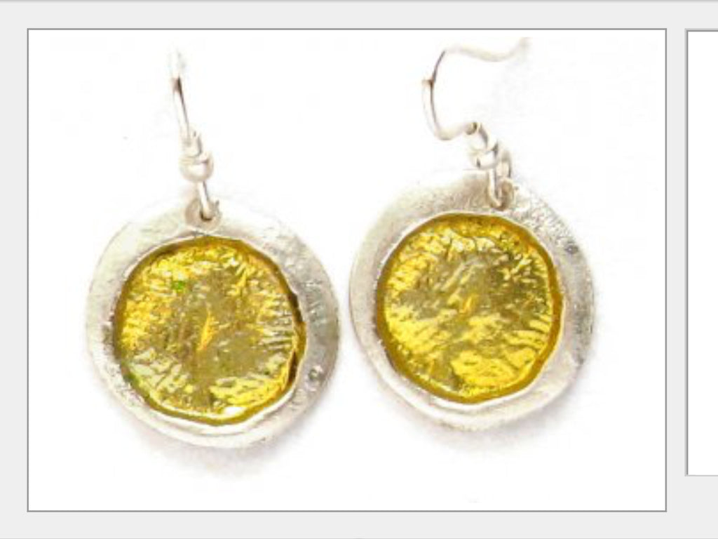 Earrings - Round Pewter Colored Enamel Earrings