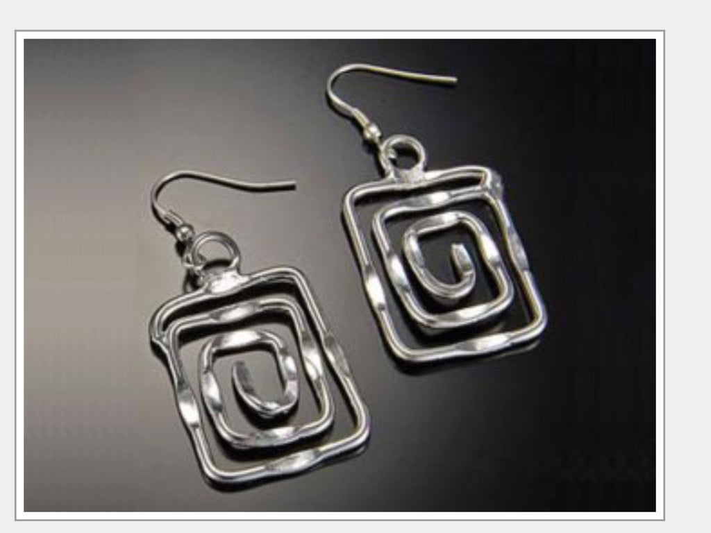 Earrings - Square Spiral Earrings-A Mom's Attic