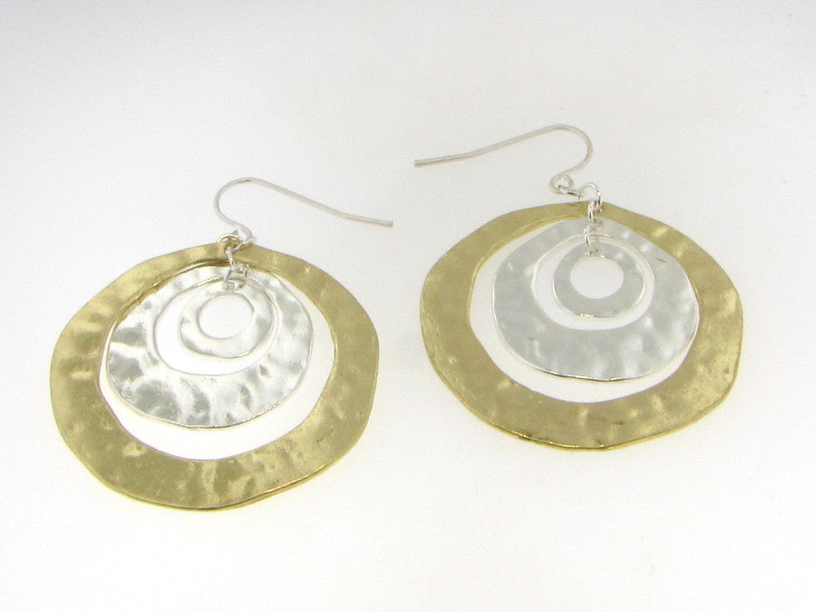 Earrings - Two Tone Matte Silver And Gold Hoop Earrings