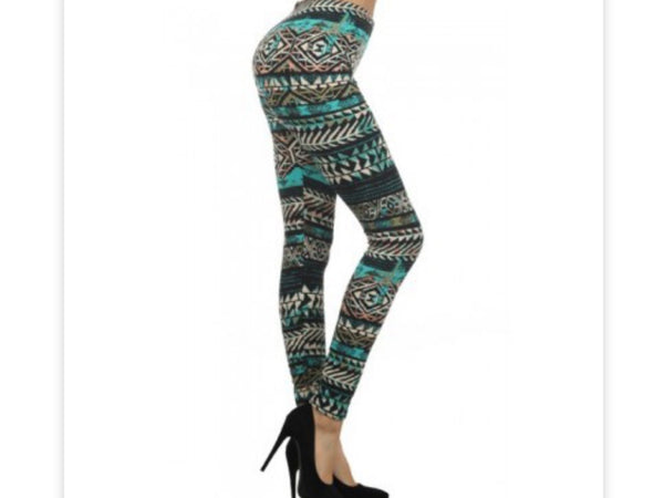 Aztec Queen Print Fleece Lined Leggings-A mom's Attic