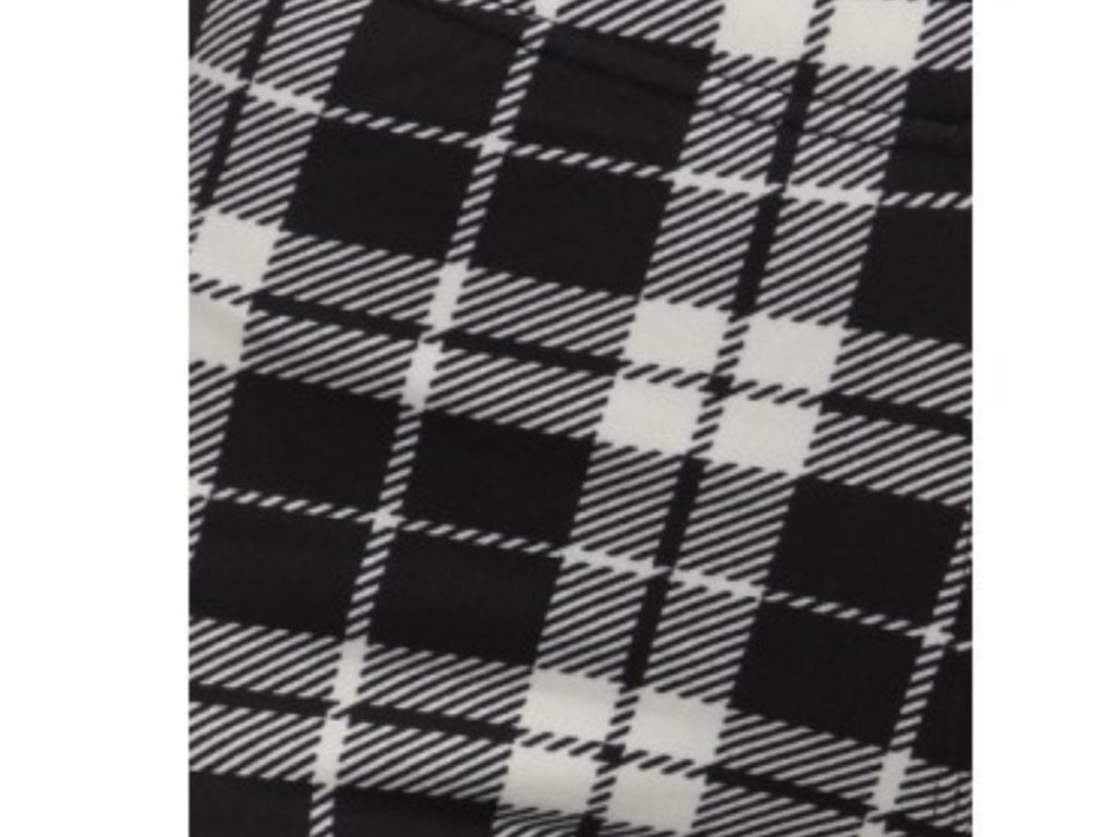 Black and White Plaid Fleece Lined Leggings