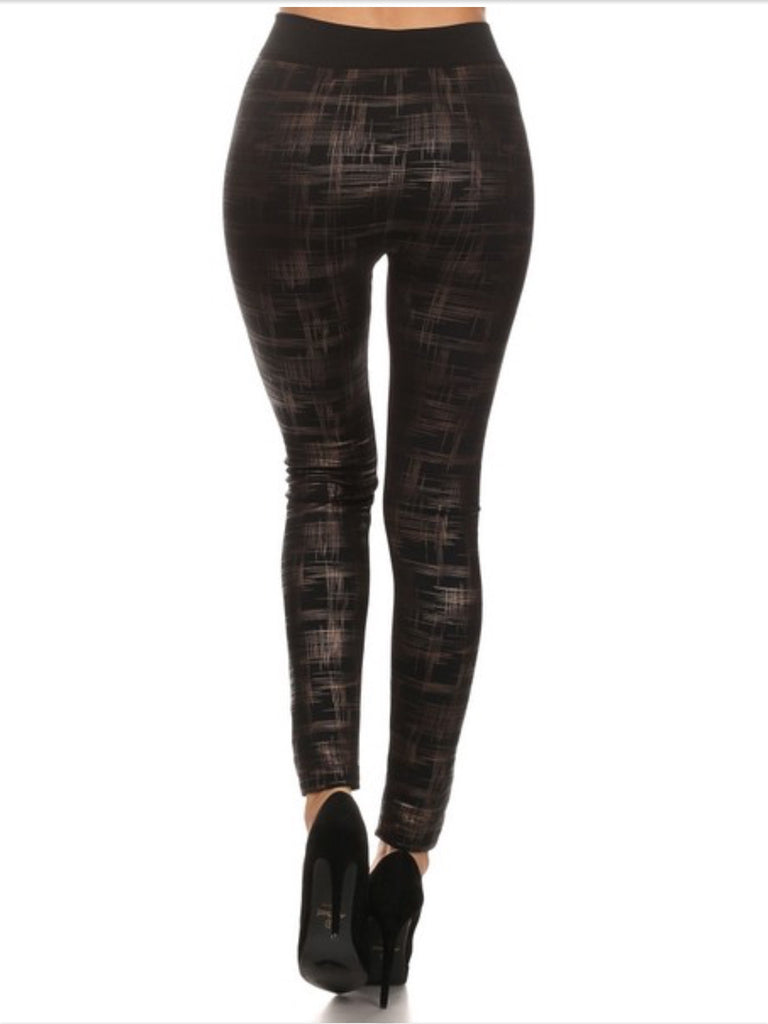 Fleece LIned Legging - Plaid Cross Hatch Slick Print Leggings