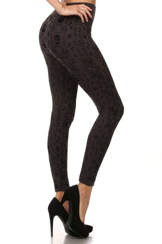 Fleece LIned Legging - Skull Print Flocking Fleece Lined Leggings