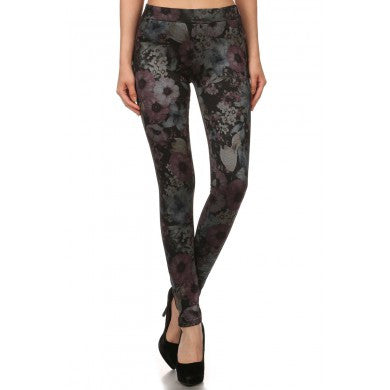 Jeggings - Floral Print Fleece Lined Jeggings - Assorted Colors-A Mom's Attic