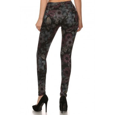 Jeggings - Floral Print Fleece Lined Jeggings - Assorted Colors