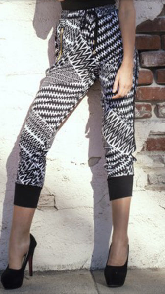Black and White Print Joggers-A mom's Attic