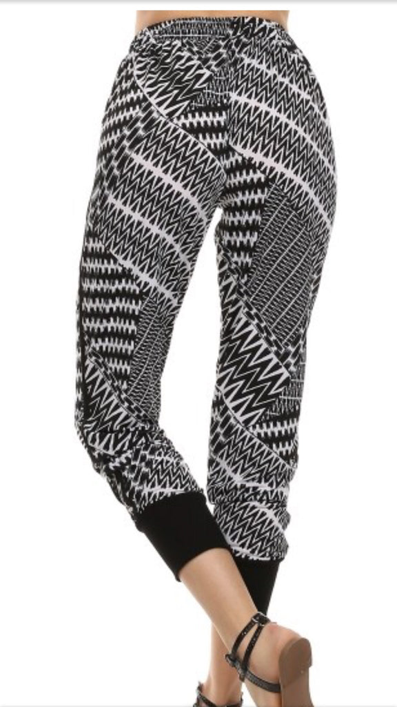 Black and White Print Joggers