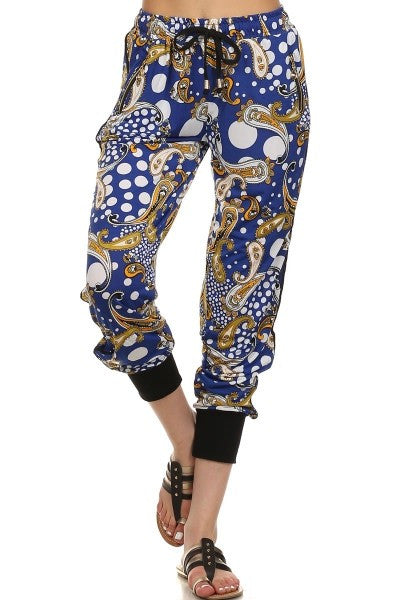 Blue Paisley Print Jogger-A mom's Attic