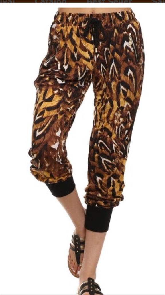 Cheetah Feather Printed Joggers-A Mom's Attic