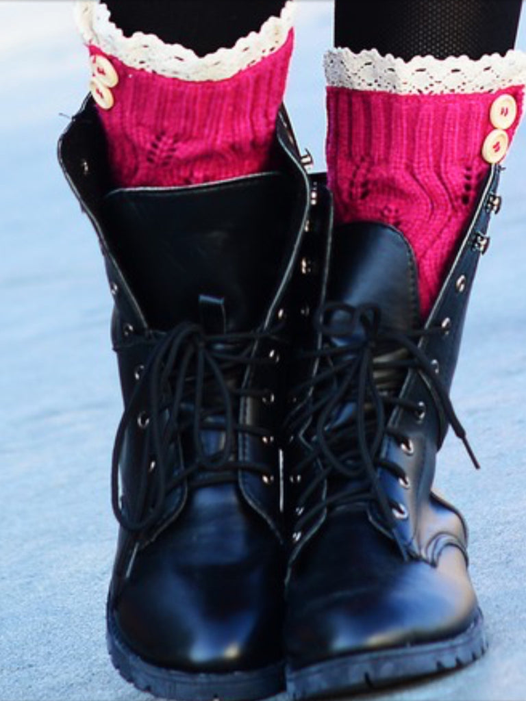 Boot Covers with Crochet Lace & Buttons-A mom's Attic