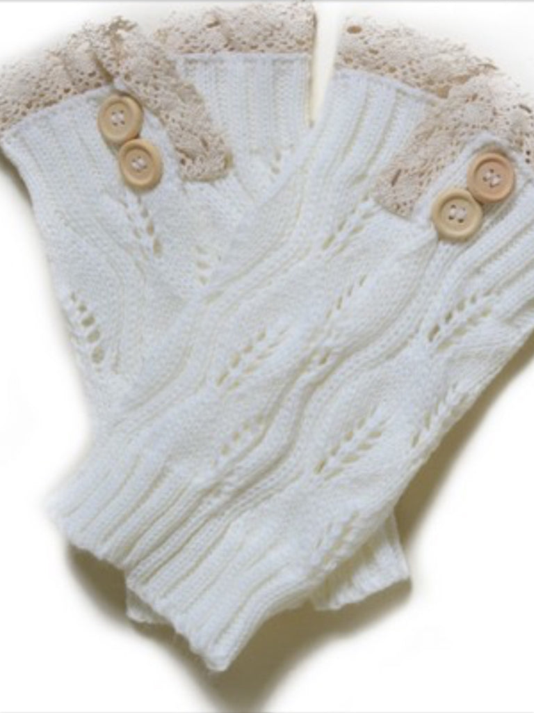Boot Covers - Boot Covers W/ Crochet Lace & Buttons