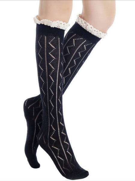 Leg Warmers, Socks, Boot Covers - Knee High Knit Boot Socks W/Crochet Lace