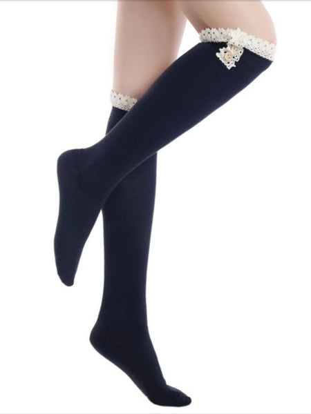 Leg Warmers, Socks, Boot Covers - Solid Vintage Style Knee High Sock W/Crochet Lace And Buttons