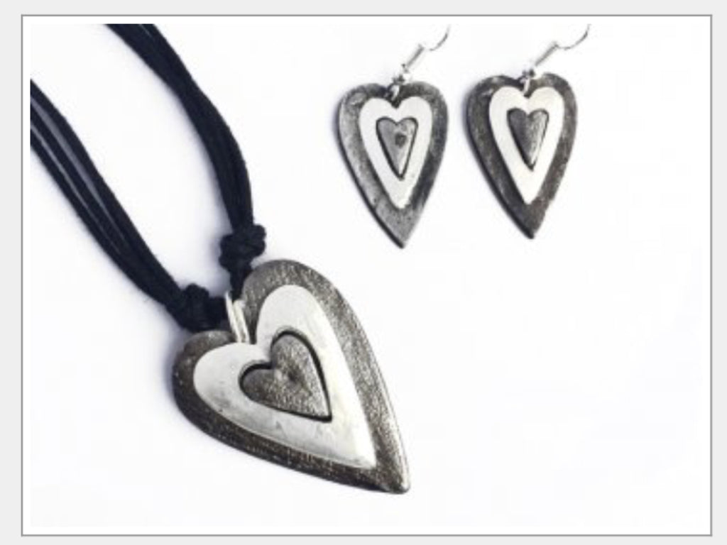 Necklace And Earring Set - Layered Heart Set-A Mom's Attic