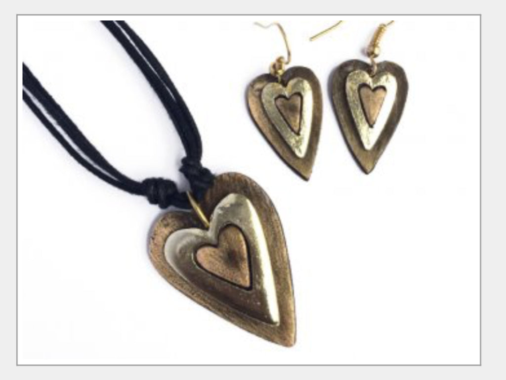 Necklace And Earring Set - Layered Heart Set