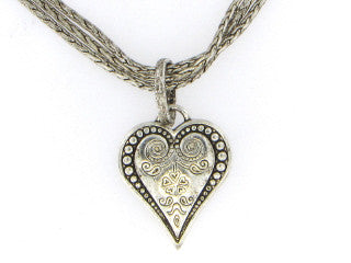 Antique Heart Necklace on Triple Strand Chain-A mom's Attic